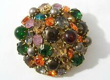 Kramer of New York Multicolor Rhinestone & Faux Pearl Big Pin Vintage