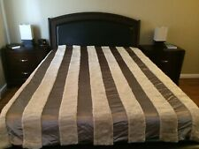 New Handmade Modern Beige Bedspread/Coverlet/Quilt Fur/Satin/Cotton Queen Size