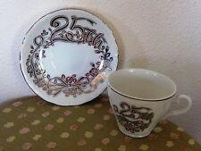 Lefton 25th Silver Wedding Anniversary Saucer Cup Set Bow & Flower Design