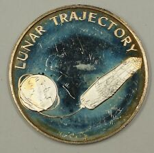 """Apollo Space Program Sterling Silver Medal """"Lunar Trajectory"""" .44 ozt 925"""