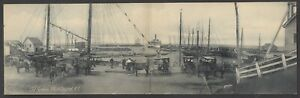 BLOCK ISLAND, RI, DOUBLE PC OLD HARBOR, SHIPS, CARRIAGES ROTOGRAPH PUB 1903-06