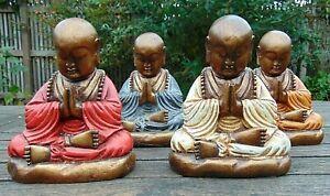 Chinese Buddha praying meditation Buddhism Feng Shui ornament relaxing gift 17cm