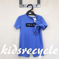 BABY CLUB Blue BOYS One Piece SUIT Outfit ROMPER (with Bootiesl) SIZE 00 NWOT