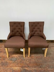 PAIR OF BROWN FABRIC DINING CHAIRS / BUTTON BACK / RESTAURANT / HOME DINING NEW