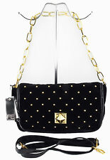 FASHION ESSENTIALS studded black velvet flapover bag. Quilted front. New + tags