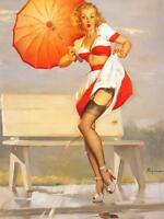 "Vintage GIL ELVGREN Pinup Girl CANVAS PRINT Poster Parasol Windy Day 24"" X 18"""