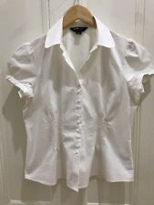 Ladies White Eight To Table Eight Brand Short Sleeved Shirt Size 14