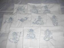 Machine Embroidered Mermaids Quilt Blocks