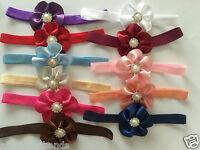 Baby Girls Bow Headbands Flower Elastic Band White Christening Wedding +Lot