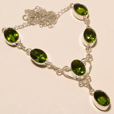 "Anniversary Gift ! Peridot Quartz Silver Plated Handmade Necklace 17""18""(L-18)"