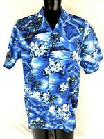 KY's Mens Blue Hawaiian Button Down Shirt Size XL Flowers, Islands and Palms