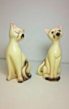 Siamese Cats Figurines Ceramic Set of 2 Green Eyes Vintage