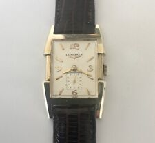 Longines 14K Gold Large Tank Fancy Case Vintage Men's Watch 17 Jewels