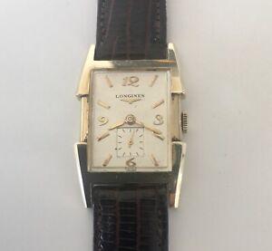 Longines 14K Gold Large Tank Fancy Case Vintage Men's Watch 17 Jewels