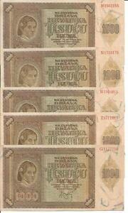 CROATIA LOT 5x 1000 KUNA 1941  P 4. WWII. aUNC CONDITION. 4RW 26 SET