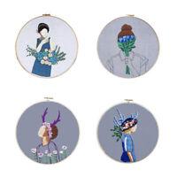 Blumen Mädchen Muster Handarbeiten Basteln Stickerei DIY Kreuzstich Kit Set