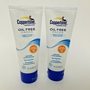 Coppertone Sunscreen Lotion Oil Free Faces 3 fl oz SPF 30 Lot 2 Lightweight New