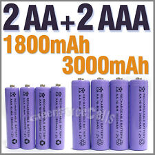 2 pcs AA 3000mAh + 2 pcs AAA 1800mAh 1.2V NiMH Rechargeable Battery Cell Purple