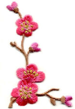 Quince Flower - Spring - Dark Pink - Embroidered Iron On Applique Patch - L