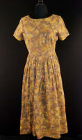 VINTAGE 1950'S  FALL COLOR COTTON PRINT DRESS SZ 8