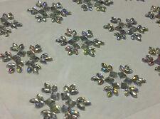 CraftbuddyUS 12 x 25mm Self Adhesive Snowflake Flower Diamnte Gems Wedding Craft