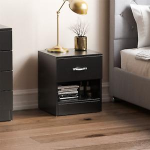 Riano Bedside Cabinet Black 1 Drawer Metal Handles Runners Bedroom Furniture