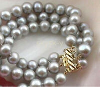 3 ROW 9-10MM JAPANESE AKOYA GRAY PEARL BRACELET 14K GOLD MARKED 8""