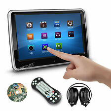 "1x 10"" Touch LCD DVD USB/SD Player Portable Car Headrest Monitor Game +Headphone"
