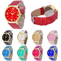 1PC Womens Girls Watch Waterproof Geneva Faux Leather Analog Quartz Wrist Watch