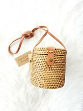 🌺Collection 18 Cylindrical Rattan/Wicker Crossbody w/Leather Strap Hand-Crafted