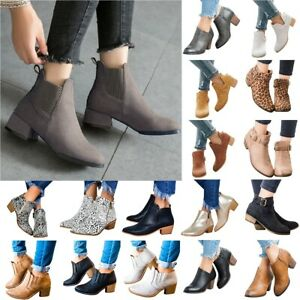 Women Winter Fashion Ankle Booties Lady Casual Block Low Mid Heels Boots Shoes