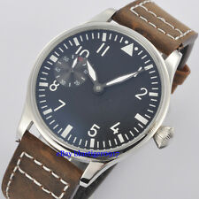 Vintage Parnis 44mm Men's Hand Winding Seagull 6497 Movement Watch Luminous Dial