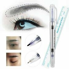2x Tattoo Eyebrow Pen Marker Skin Ruler Permanent Surgical Make Measure Tools Hi