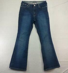 Gasoline Womens 9/10 Flared Jeans Dark Blue Denim Pants Flat Front Cotton Blend