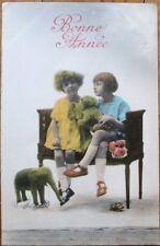New Year 1915 Postcard: Teddy Bear, Toy Elephant & Children - French Fantasy
