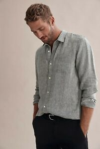 COUNTRY ROAD IRISH  LINEN  SHIRT in Charcoal RRP$129 size L