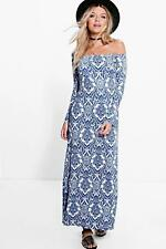 Boohoo Ria Paisley Off Shoulder Flared Sleeve Maxi Dress UK 8 LF087 GG 20