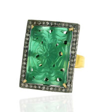 Carved Onyx Ring 18K Gold 925 Sterling Silver Natural Diamond Designer Jewelry