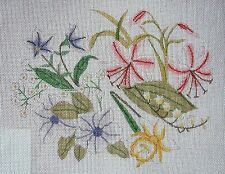 EP Vintage Hand Painted HP Needlepoint Canvas ~ Spring Floral