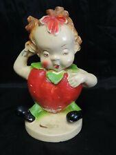 Rare Vintage 1942 Peedee Strawberry Girl Chalk Ware Carnival Figurine