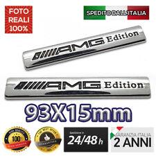 1x AMG LOGO MERCEDES BENZ ACCIAIO CROMATO BADGE STEMMA ADESIVO 93x15mm EMBLEMA