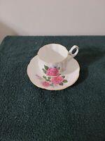 Vintage Tea Cup & Saucer Royal Dover England Bone China Roses White Pink