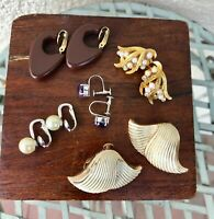 Vintage Clip On Earrings Set of Five with Coro and Ciner Mid Century Jewelry