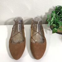 Lucky Brand Aviee Leather Lace Up Ballet Flats Womens Size 10 Almond Toe