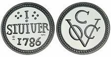 Zilveren Proof replica -  Stuiver Ceylon 1786 .925 zilver, 31,1 gram