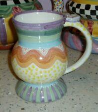 Mackenzie Childs RETIRED Thumb Print Pedestal Coffee Mug   BRITTANY