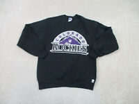 VINTAGE Colorado Rockies Sweater Adult Medium Black Purple MLB Baseball Mens 90s