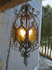 Antique Gothic Chandelier Pendant Lantern 4 light Wrought Iron Stained Glass