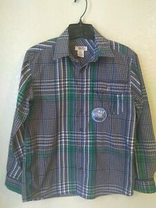 NWOT Route 66 Boys Grey Blue Green Plaid Skateboarding Shirt Size 10/12