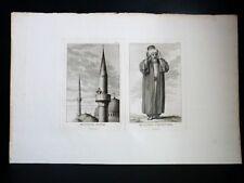 BELLE GRAVURE ORIGINALE Muezzin Public Privé Tableau Général EMPIRE OTTOMAN 1787